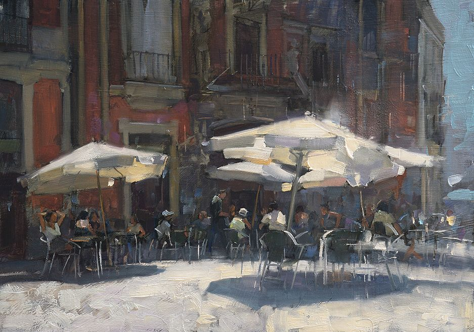 Sirocco Wind Seville 14x10 Inces Original Oil Painting By Uk Artist Douglas Gray Oil Painting Landscape Grey Painting Cityscape Painting