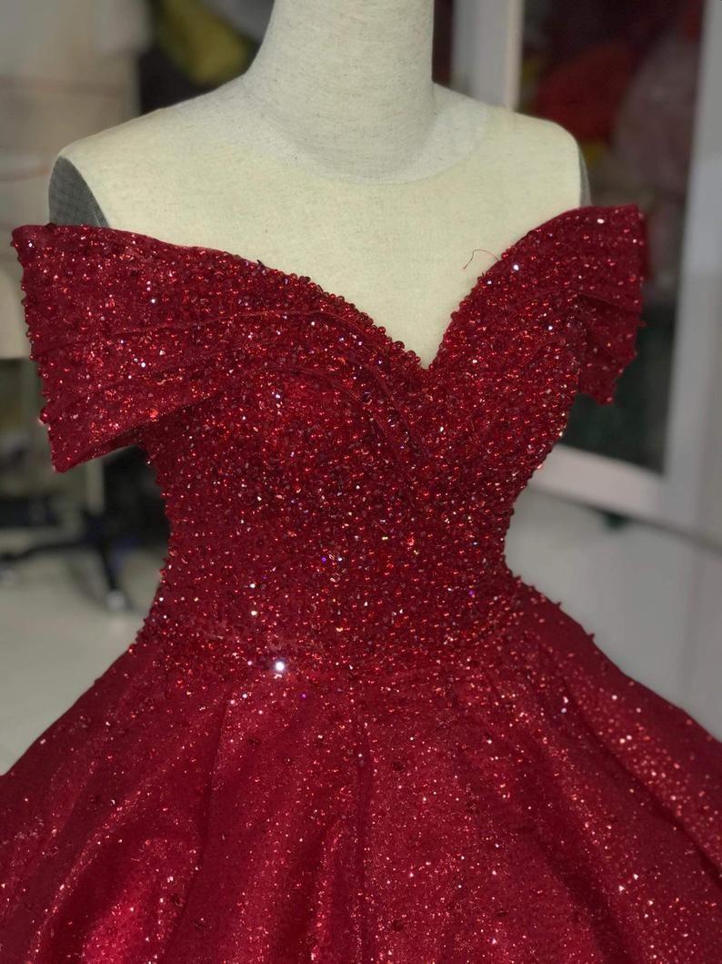 Off Shoulder Dress Off Shoulder Red Dress Red Glitter Fabric Red Ballgown Dress Beading Dress Evening Dress Prom Dress Short Red Prom Dresses Red Quinceanera Dresses Quinceanera Dresses Short [ 1059 x 794 Pixel ]