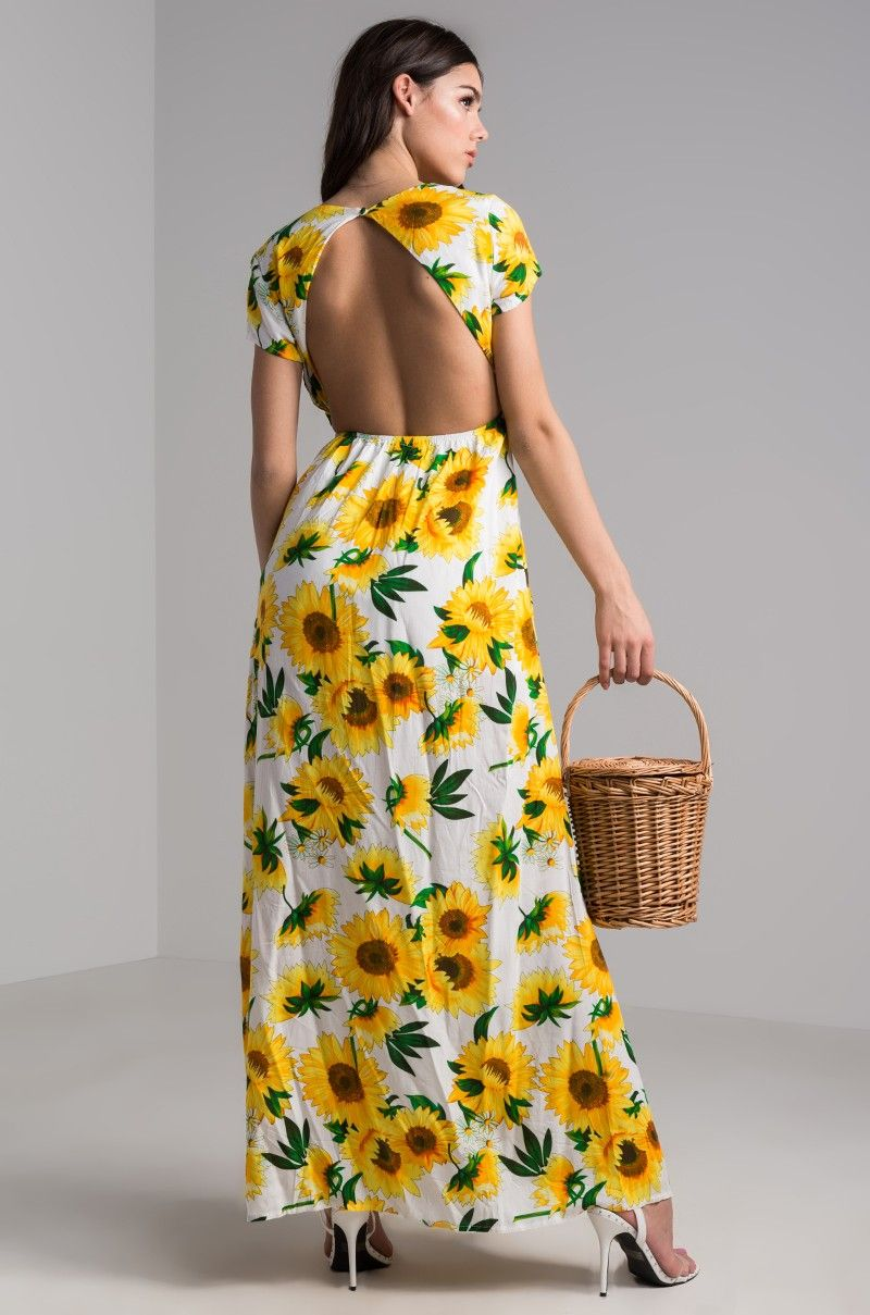 49f0286705 AKIRA Short Sleeve Tie Front Open Back Long Slit Sunflower Printed Floral  Maxi Dress in Sunflower