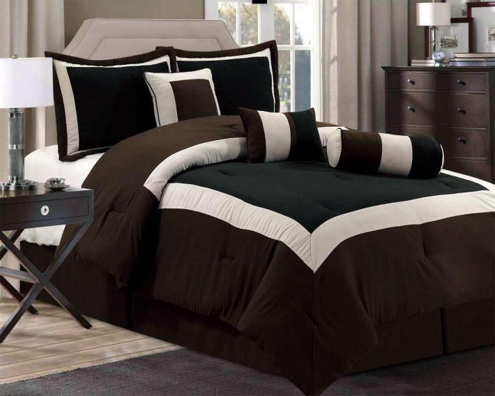Comforters New Chocolate Brown Black Bedding Hampton Comforter Set Queen King Cal Comforter Sets Bed Design Black Bedding