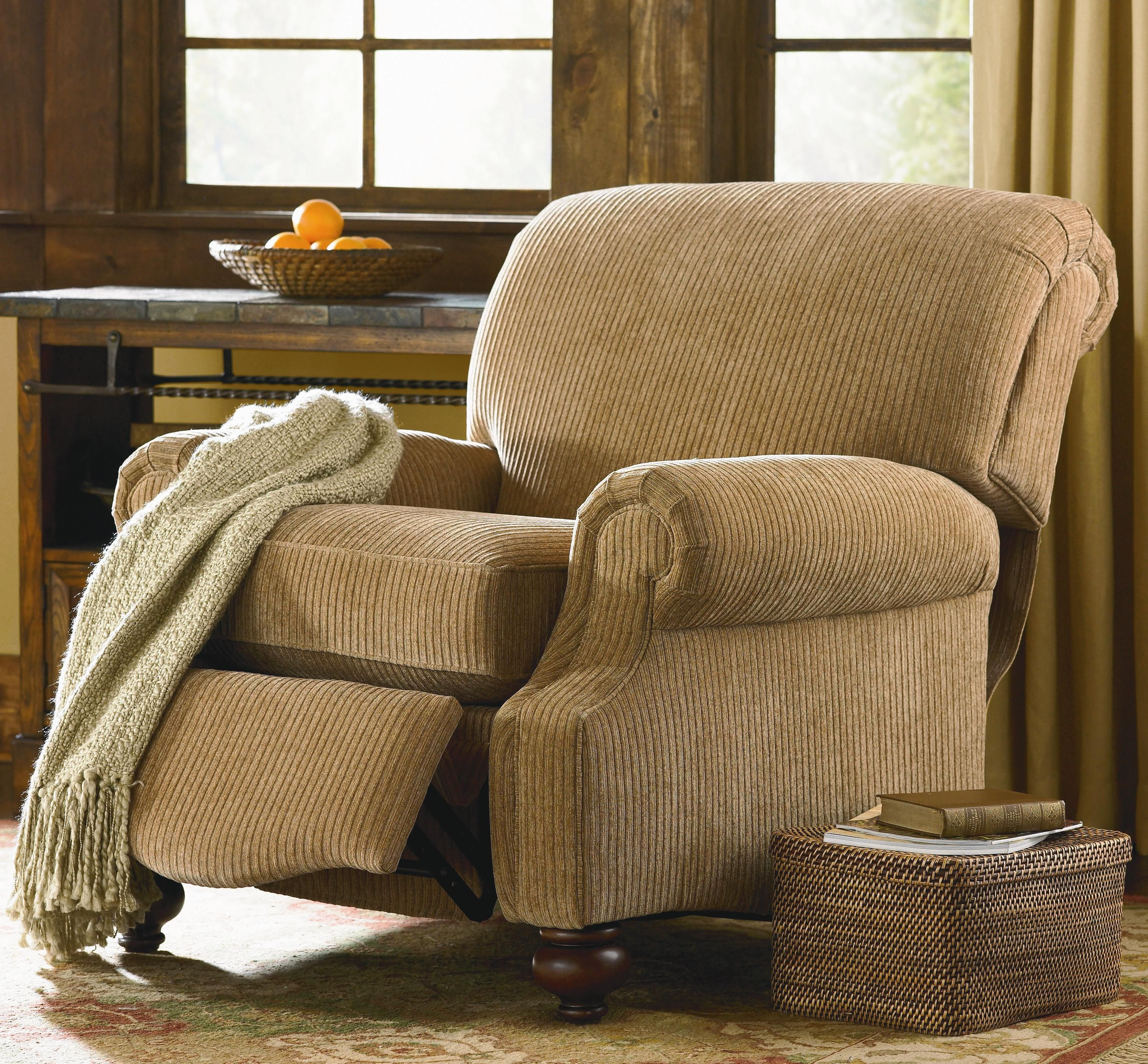 Club Room Recliner With Exposed Wood Feet By Bassett