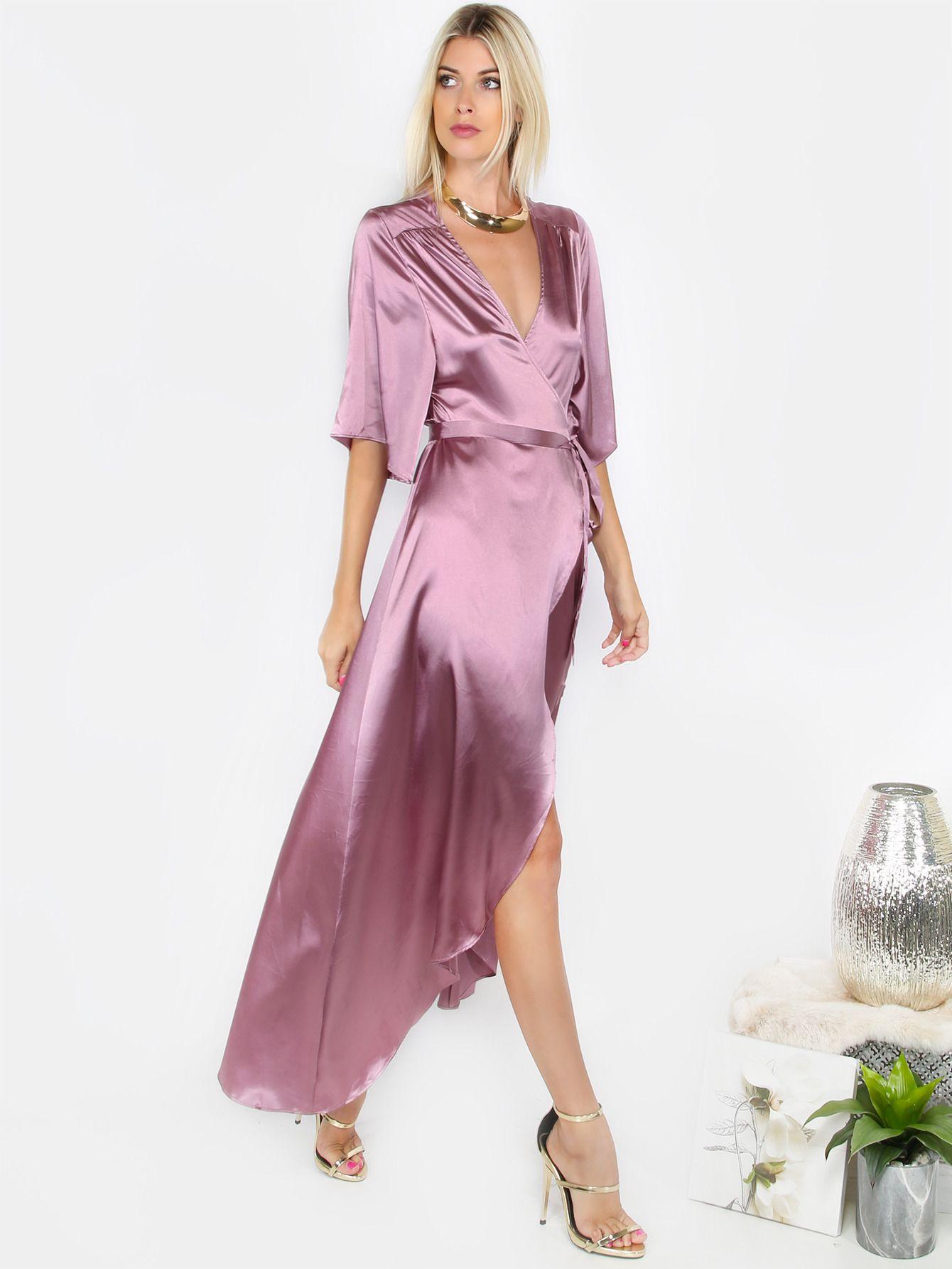Satin Silky Wrap Dress MAUVE | MakeMeChic.COM | Pinterest