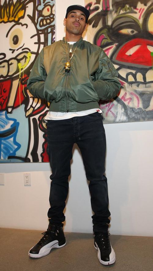 588001e89e9 Chris Brown wearing Air Jordan 12