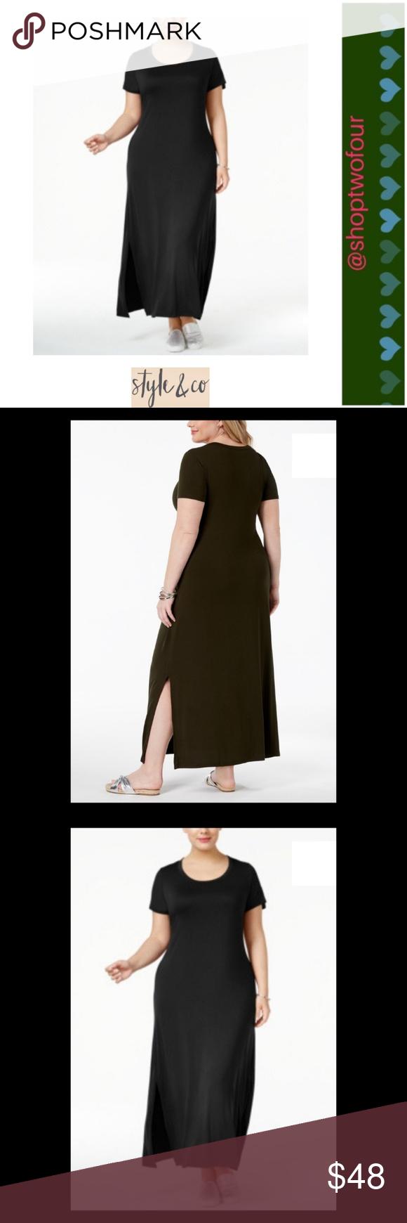 0eeac863cd3 Style   Co Plus Size T-Shirt Maxi Dress Black NWT Style   Co Plus ...