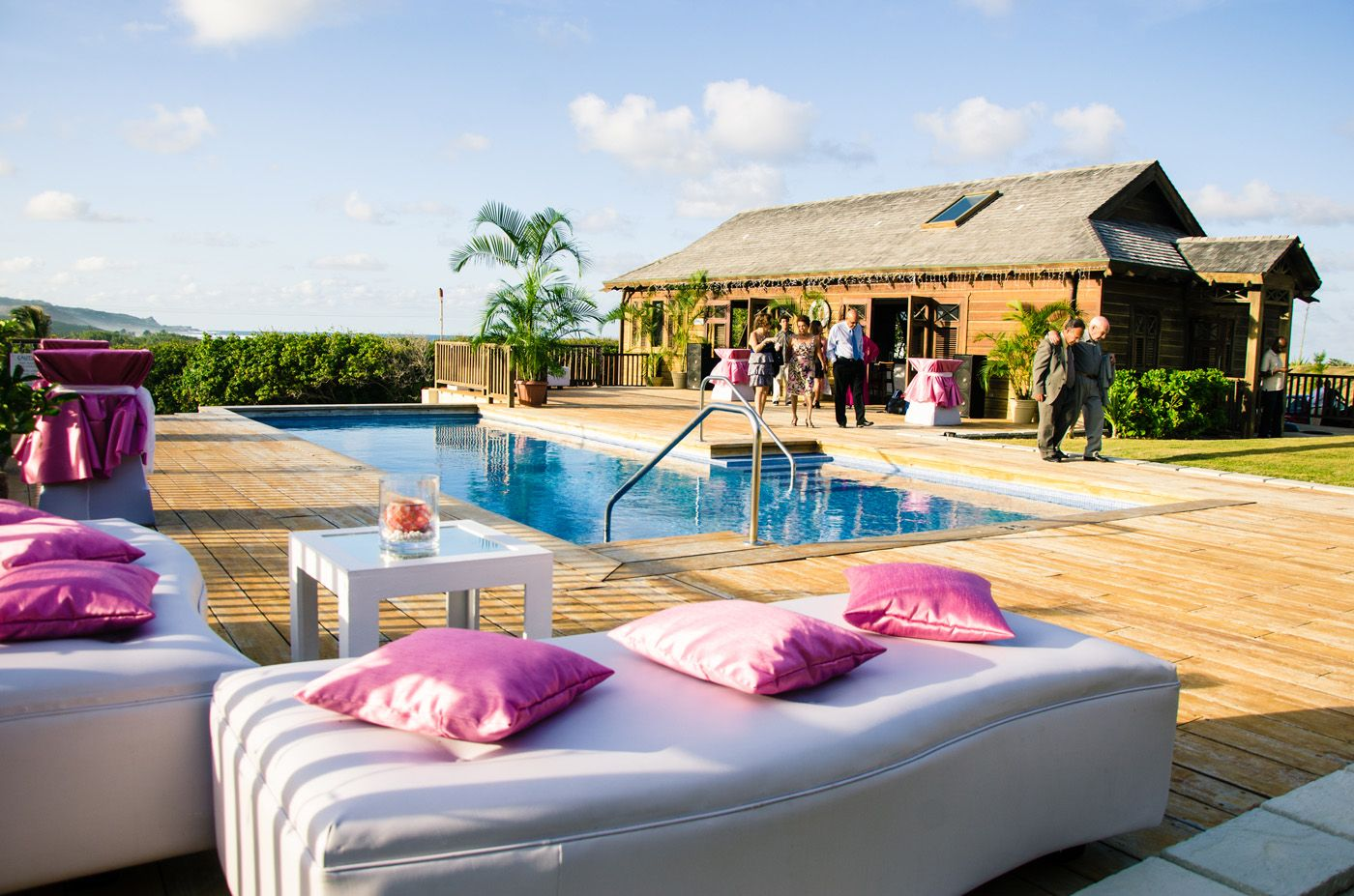 Emma Corrie Destination Wedding At Santosha Barbados With Outdoor Pool Pink And White Lounge