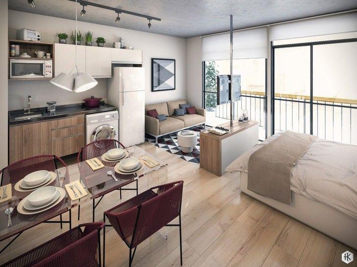 Burgundy And Gray Interior Design · Studio Apartment KitchenStudio Type ...