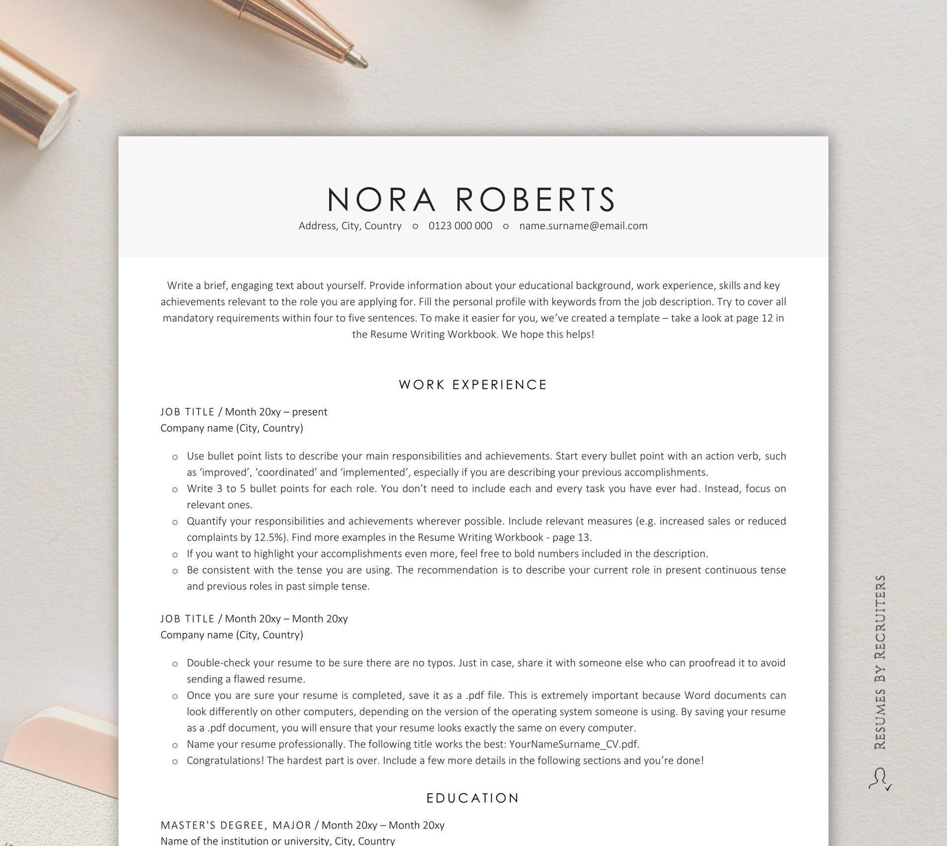 Executive Resume Template Instant Download ATSfriendly CV