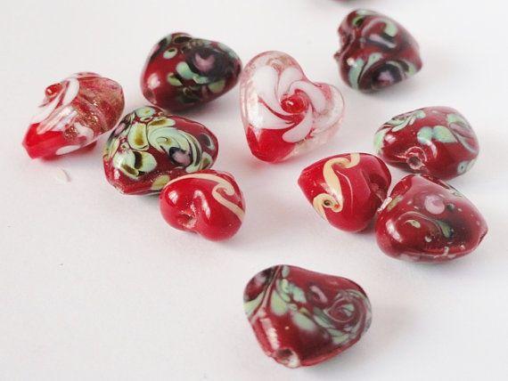 Destash Heart Shaped Glass Beads