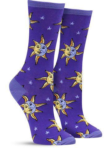 Celestial Moon & Sun Unique Novelty Socks for Women, Blue