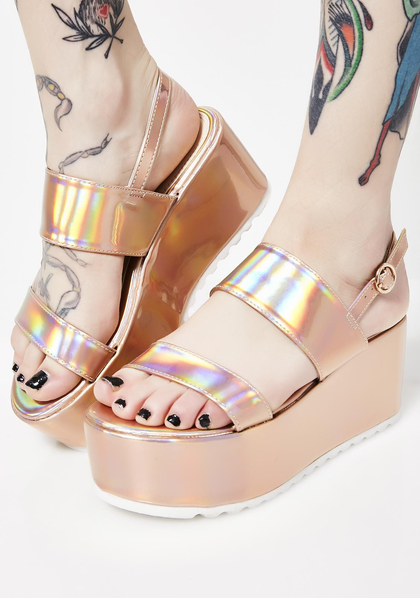 5497aaaead2a61 Rosé Cosmic Bae Of Light Hologram Platforms will have ya walkin  on  rainbowz. Keep it lit in these super sikk platform sandals that are treaded  with a back ...