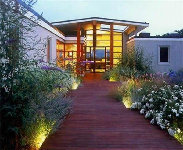 Exterior Design Ideas Vorgarten Design Wood Floor Plants Lighting
