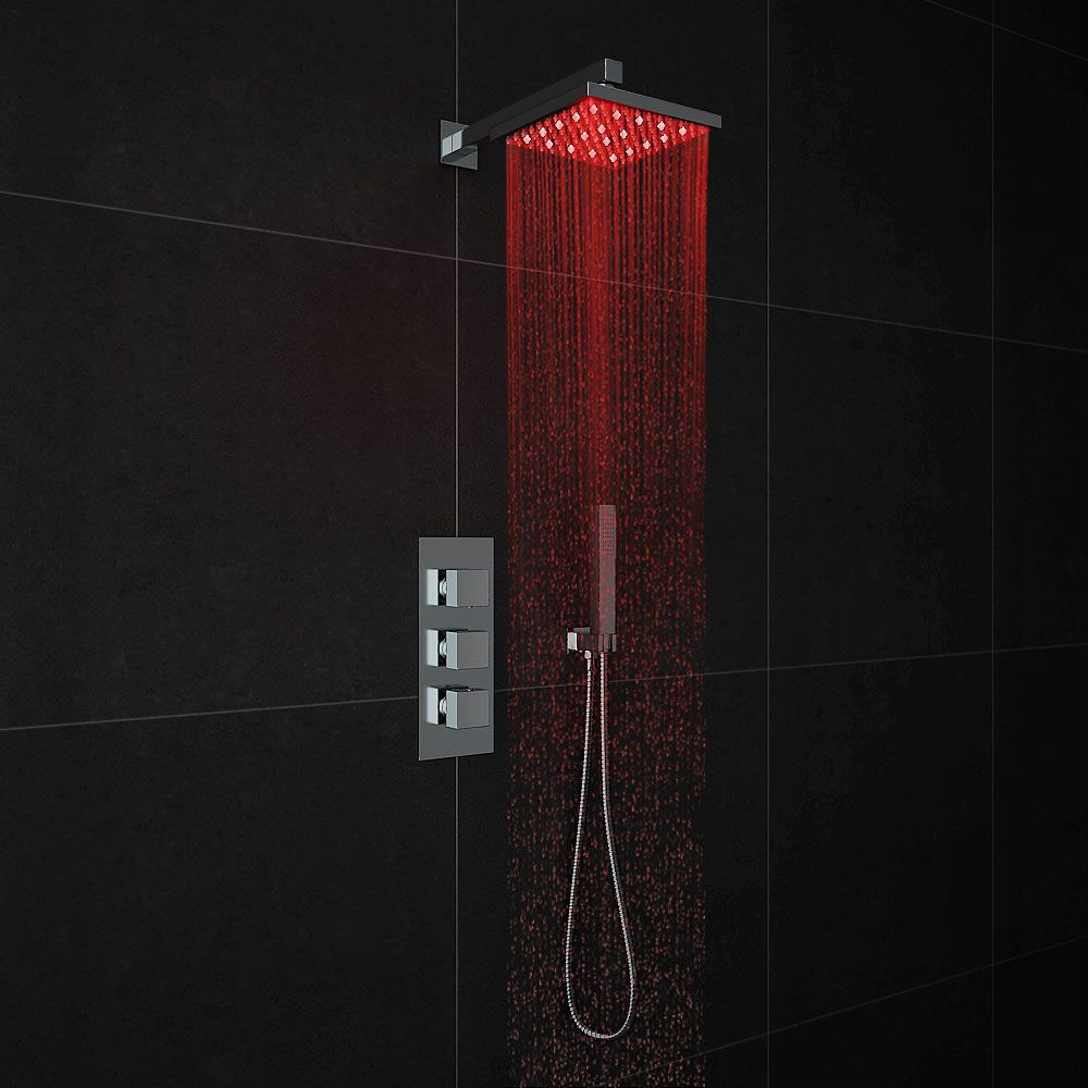 Milan LED Triple Thermostatic Valve with Square Shower Head + ...