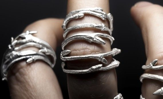 Elvish Bands Set Of 3 Sterling Silver Twig Stacking Rings Redsofa Jewelry 125 00 Via Etsy