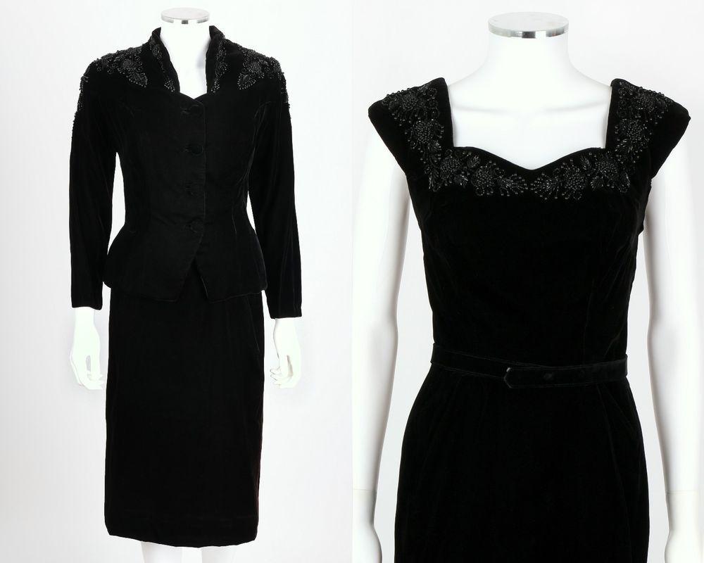 Vtg s s pc black velvet beaded cocktail evening dress