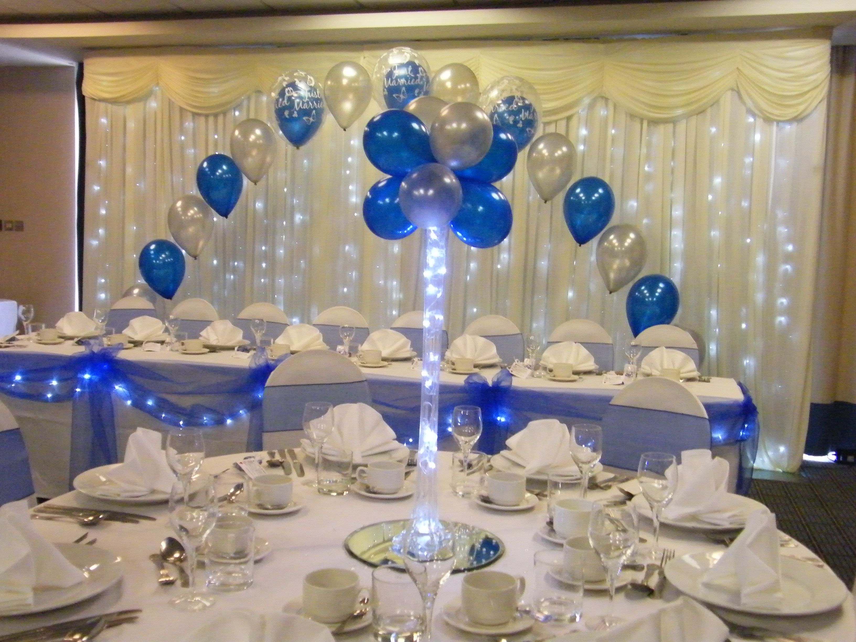 Decoration Dressing Vase Balloon Tree In Royal Blue And Silver With Table