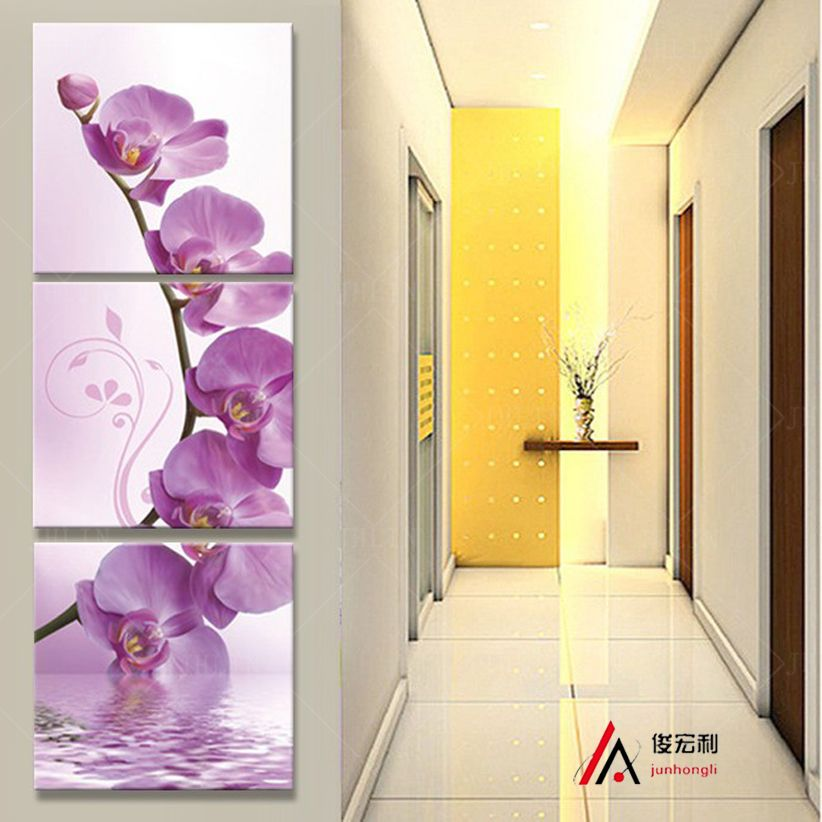 3 piece art corridor on the wall stereoscopic orchid canvas oil ...