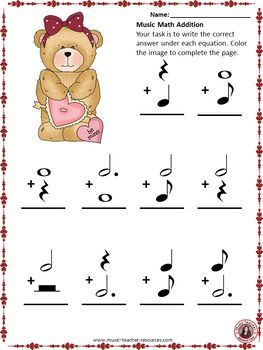 Music theory worksheet! Free download for Valentine\'s Day! ♫ CLICK ...