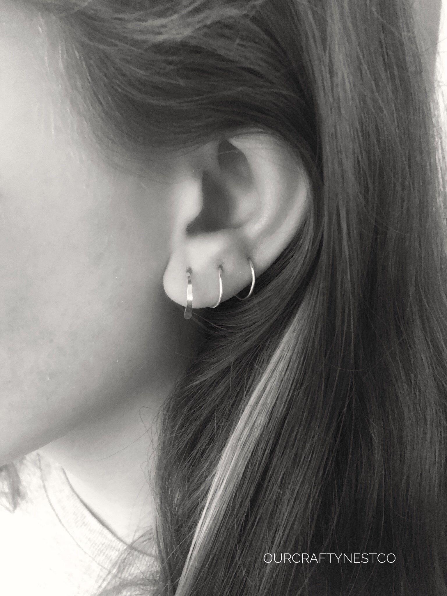 a14698610ee491 Spiral MULTIPLE PIERCINGS SILVER Hoop, 3 Piercings Threader Hoop, Earrings  for 3 Holes,