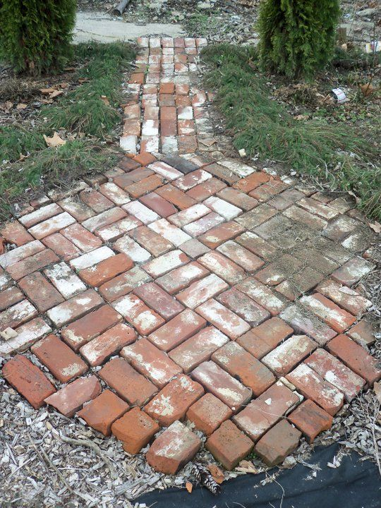 Small Brick Patio Made From Old Chimney Bricks.