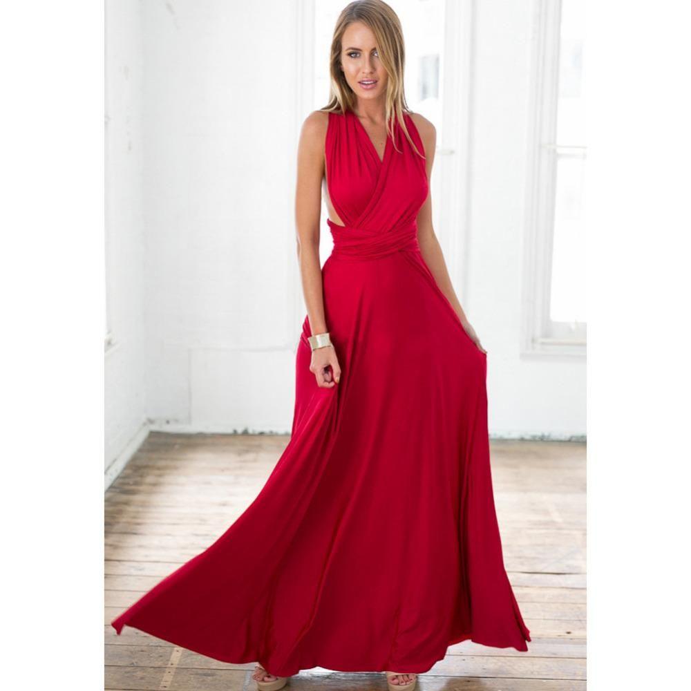 33d2493769ca ... V Neck Wrap Party Long Dress. Okoye Styled Red Casino Dress - Women