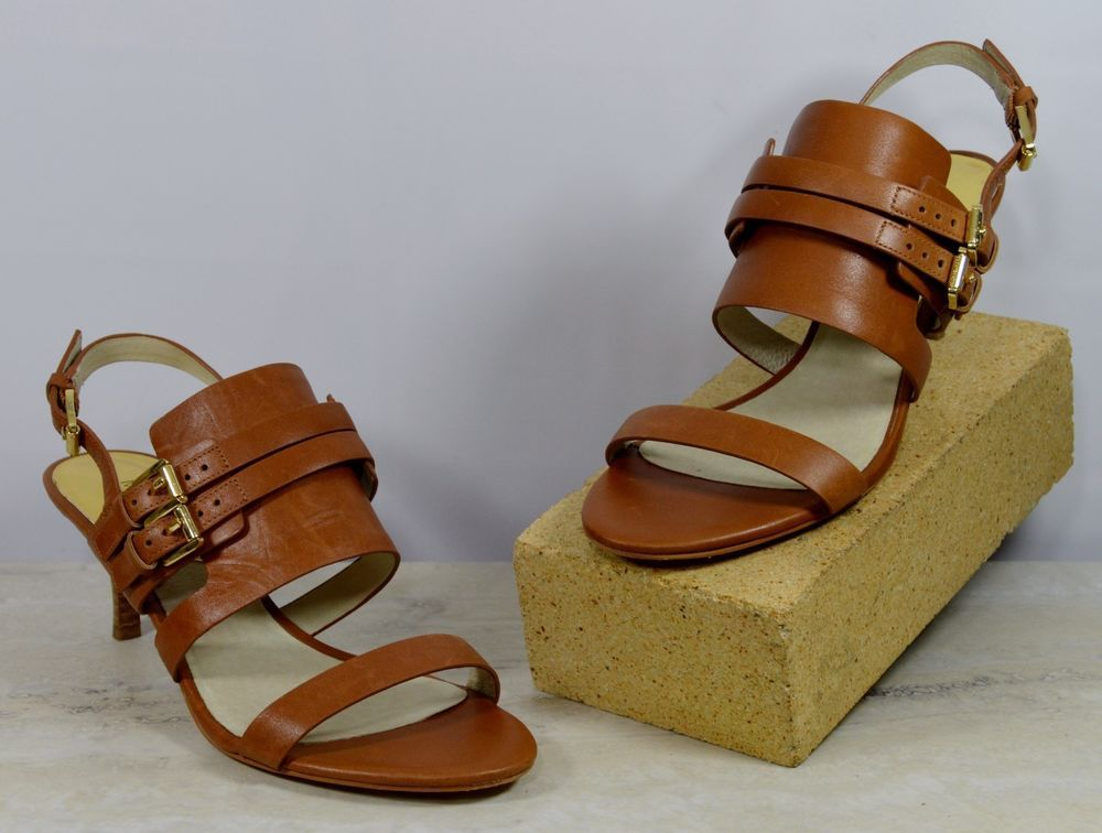 cdb719569ea7 Michael Kors Brown Leather Buckle Strap High Heels Women s Size 8 M   MichaelKors  KittenHeels  Casual