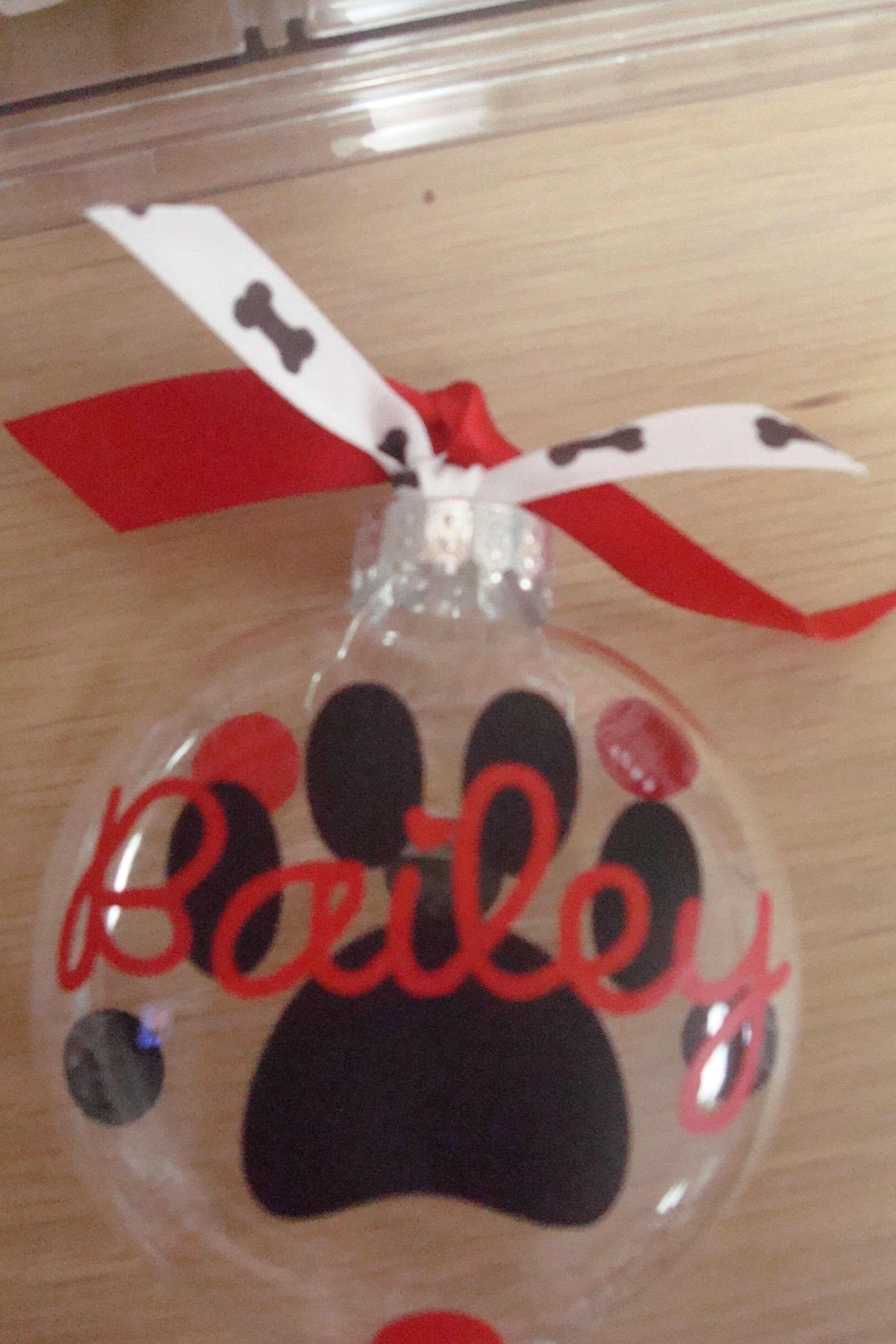 Personalized Christmas Ornament With Dog Paw
