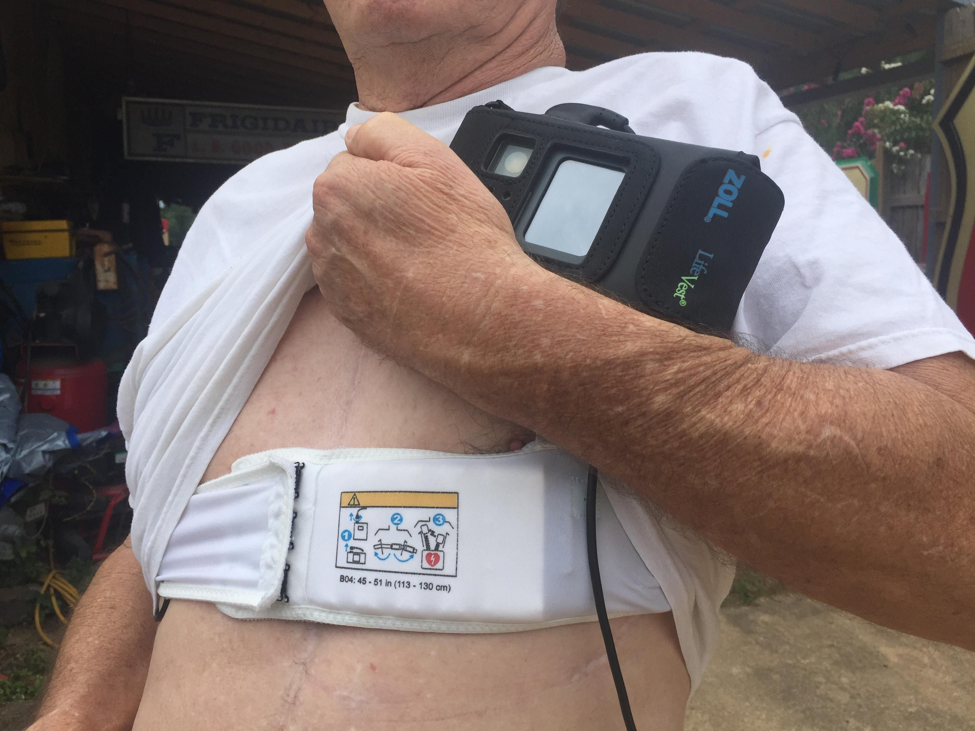 This is a Zoll Life Vest. It is a wearable defibrillator that is ...