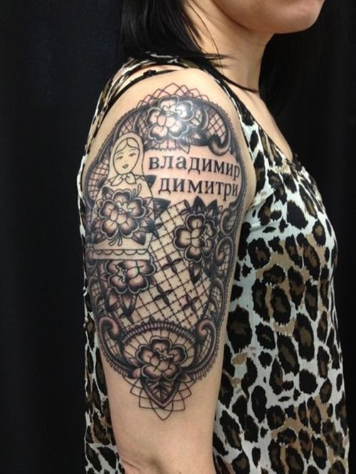 Half sleeve russia lace tattoos for girls sleeve tattoos for Lace half sleeve tattoo