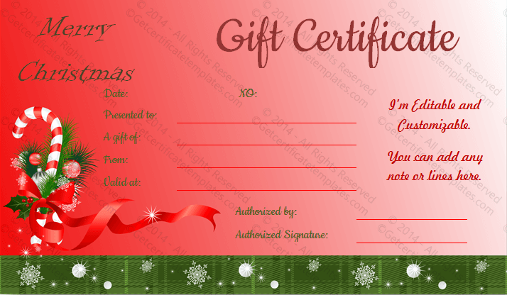 What Is Great About This Santa Sticks Christmas Gift Certificate Template  Is It Is Customizable And Easily Editable To Turn It For Anyone.  Christmas Gift Card Template