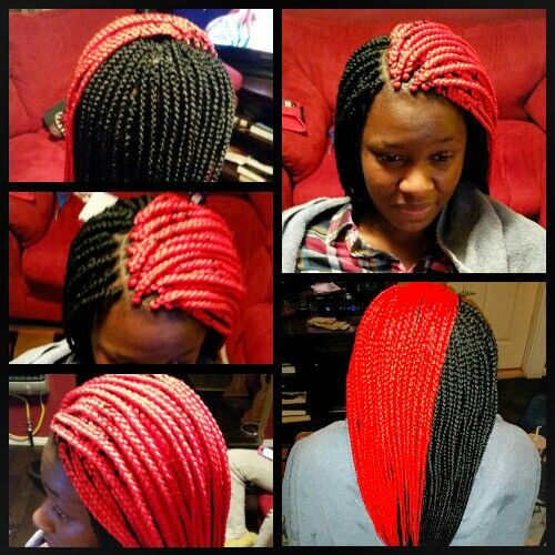 Red And Black Boxbraids Braids With Shaved Sides