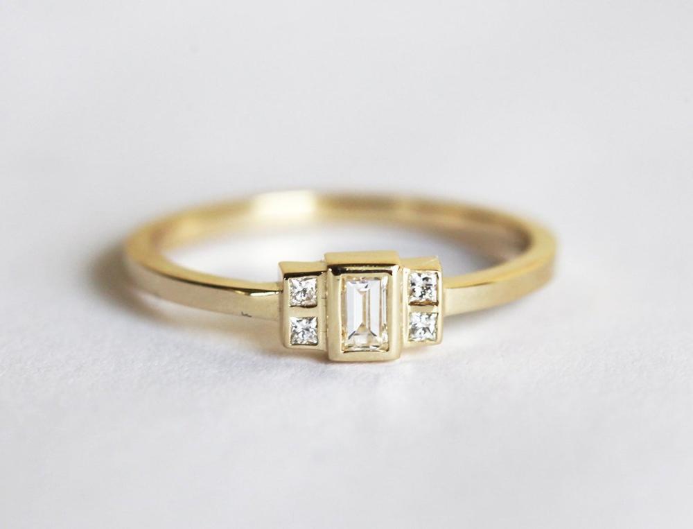 Photo of Baguette Diamond Engagement Ring, Diamond Art Deco Engagement Ring Yellow Gold