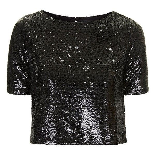 1968565a26b Women's Topshop Two Tone Sequin Tee ($35) ❤ liked on Polyvore featuring tops,  t-shirts, crop top, shirts, tees, sequin t shirt, sequin shirt, crop shirt,  ...