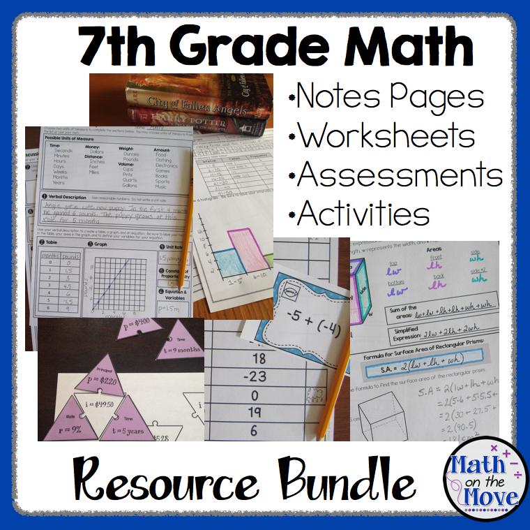 7th Grade Math - BUNDLE - Notes, Activities, Worksheets, and ...