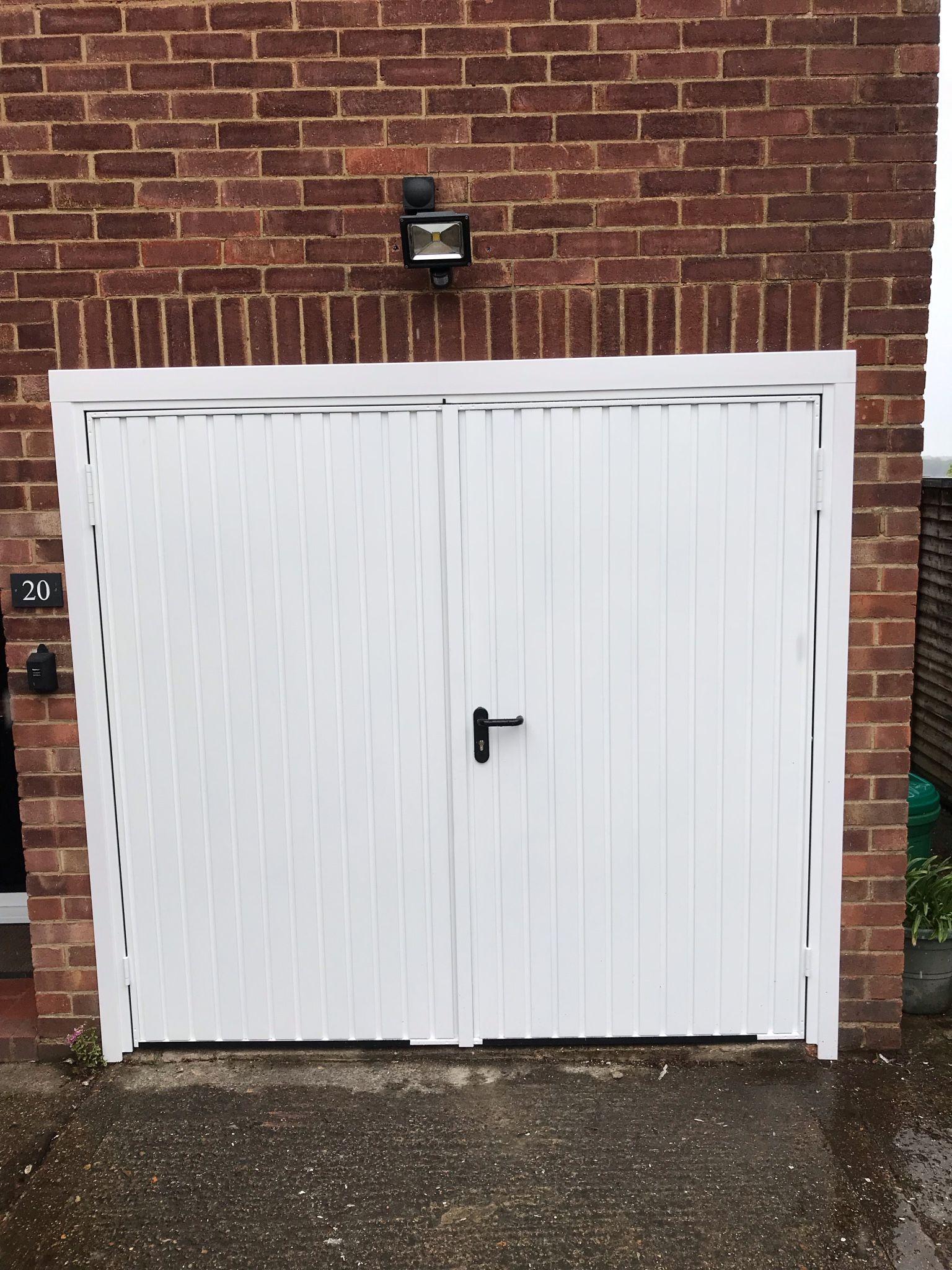 Garador Side Hung Garage Door White Swr Redefining Homes Side Hinged Garage Doors Garage Door Installation