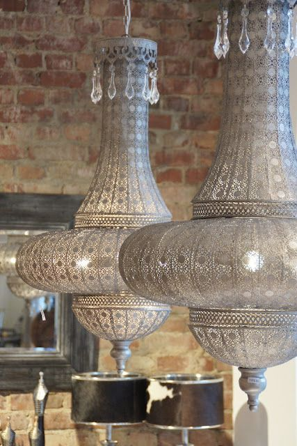 Metal and crystals. A combination of materials for a new wave of Moroccan chandeliers. #Moroccan #Chandeliers.