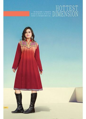 "Designer Wear Georgette Kurti with Santoon lining in Shaded Twin color with fine embroidery work en-crafted. Length: 38"" and Size: L, XL"