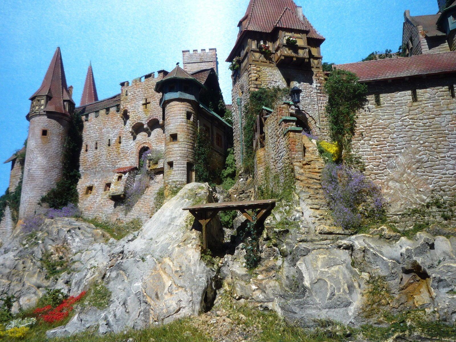 Diorama Castle Burg Schloss Elbenwald Patiniert Beleuchtung Kutsche Tren A Escala Diorama Castillos