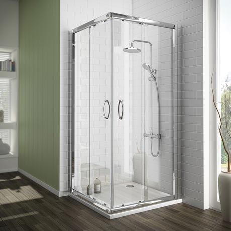 Newark Corner Entry Shower Enclosure With Pearstone Tray Online Now Shower Enclosure Shower Doors Corner Shower Enclosures