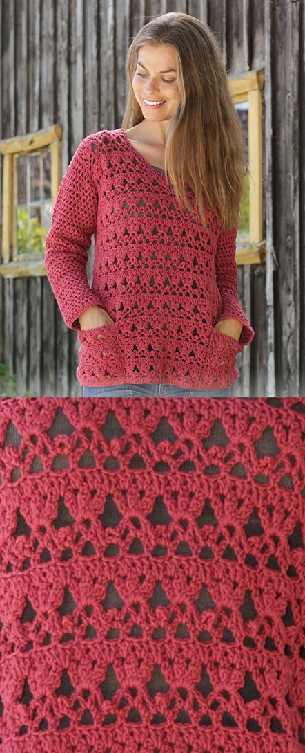 Free Crochet Pattern for a Lace Sweater with Pockets #crochetedsweaters