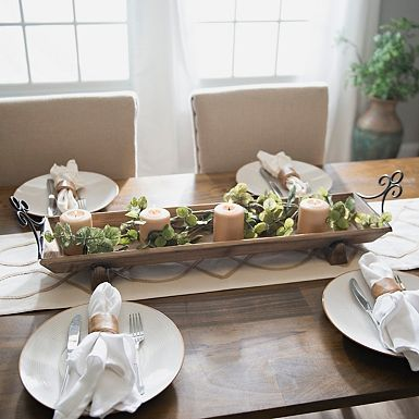 Rustic Wood Runner Tray Dining Room Table Centerpieces Table Centerpieces For Home Dinning Room Table Decor