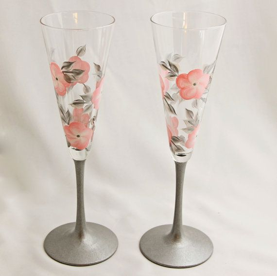 Pink and Silver Hand Painted Flowered Wedding by Allthatglass1, $22.00