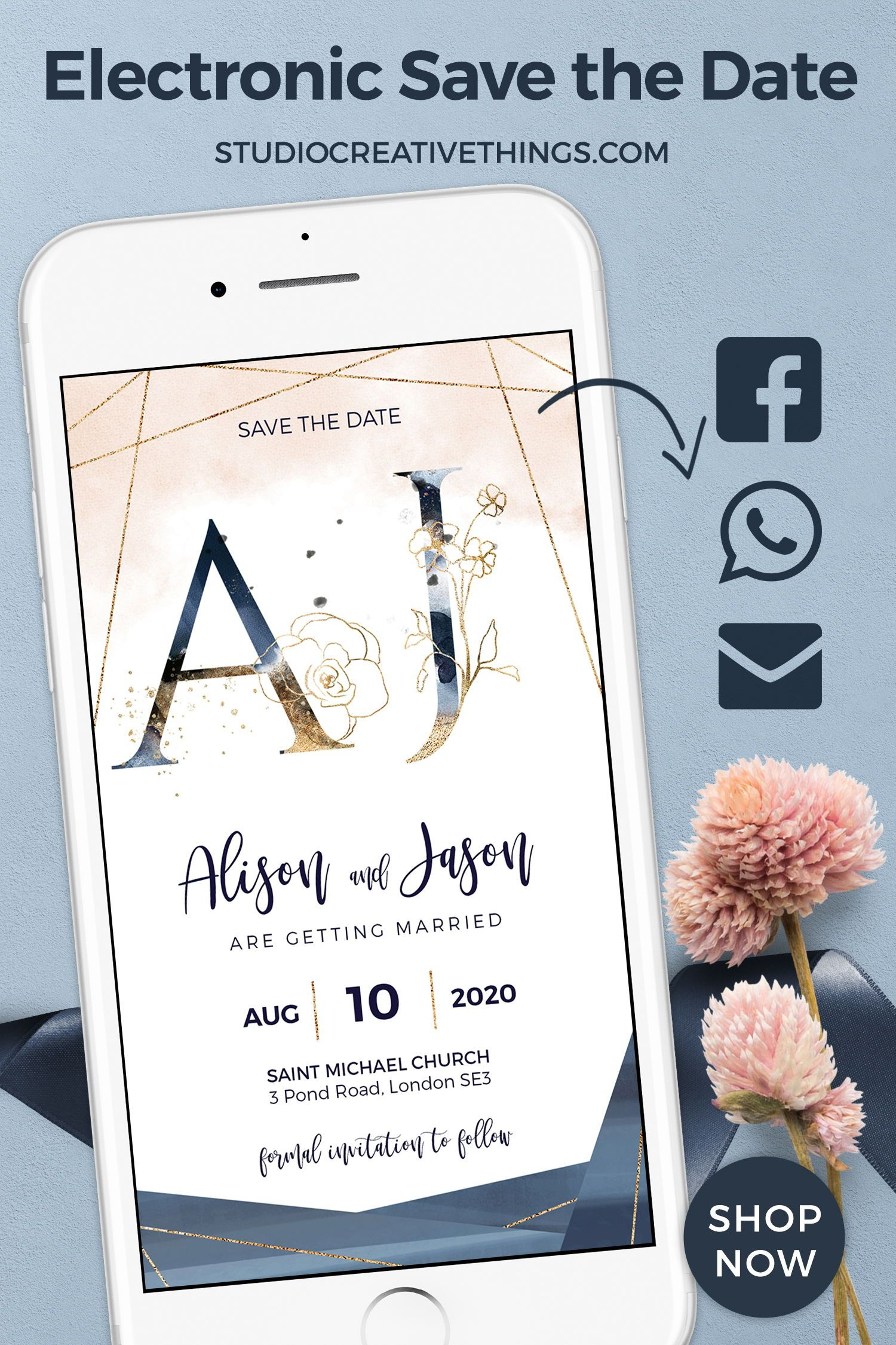 Blush, Navy WhatsApp Wedding Invitation Save the Date in
