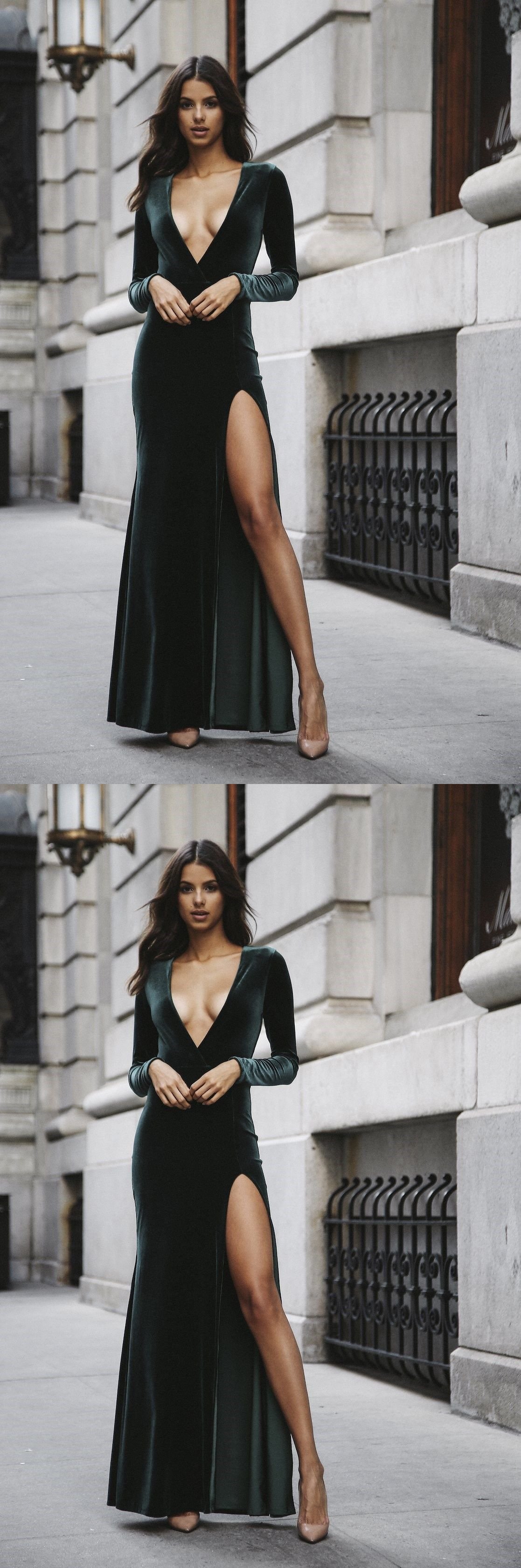 Popular dark green prom dresslong sleeves party dressdeep vneck