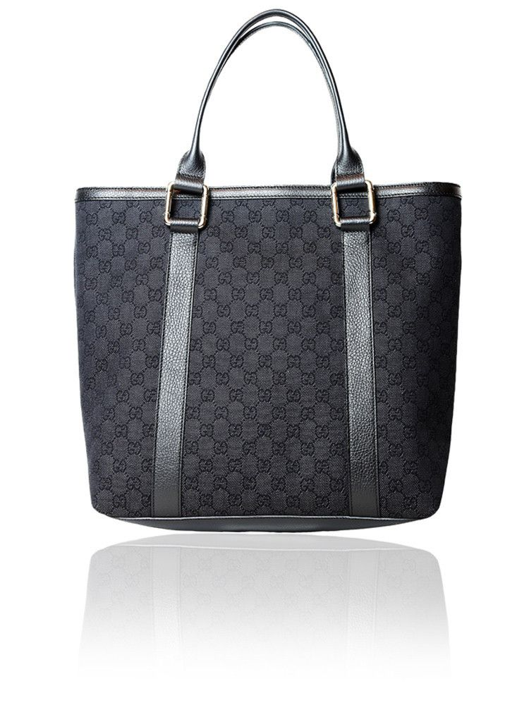 02c768a44e6 Gucci Monogram Black Tote Bag With Leather Trim  675.00  http   www.boutiqueon57