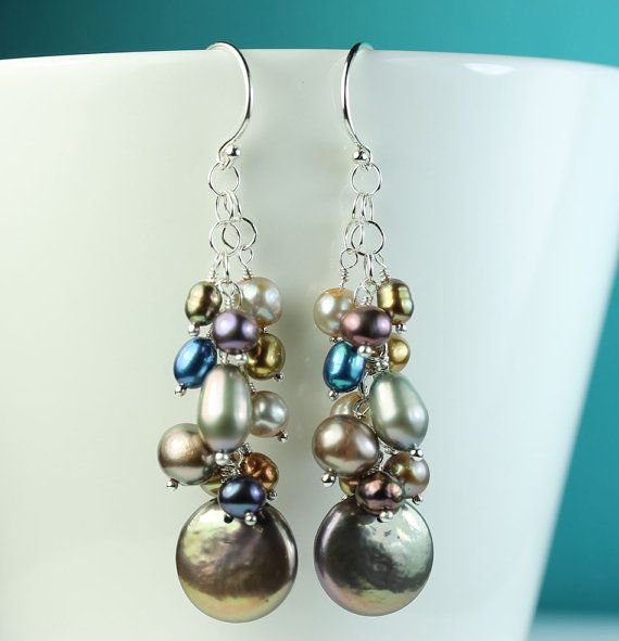 Pearl Cer Earrings Multi Colored Pearls Cascade Of