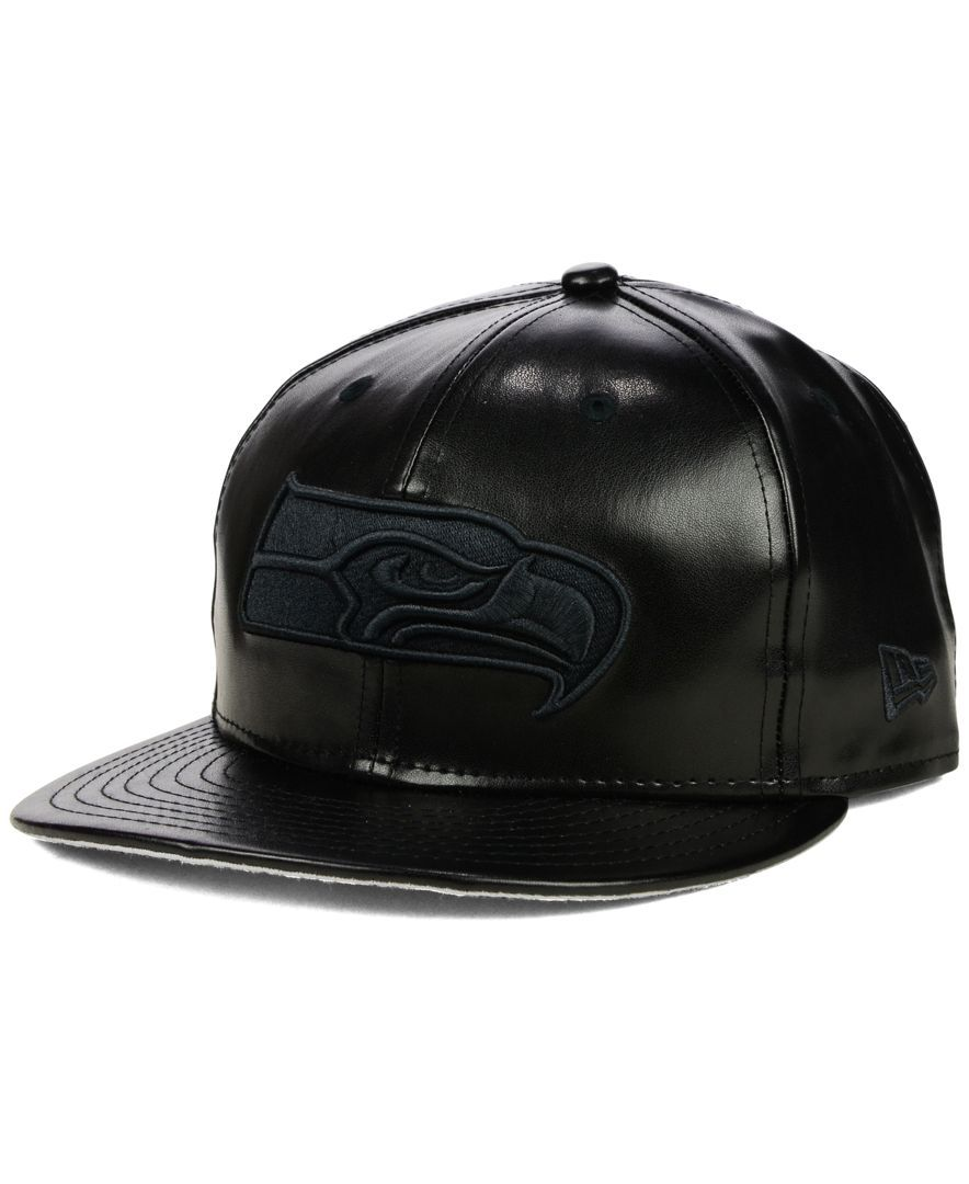 New Era Seattle Seahawks Faux-Leather Black on Black 9FIFTY Snapback ... 083c5b5d0c3