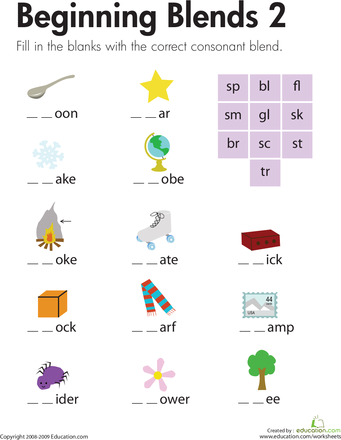 Printables Beginning Blends Worksheets 1000 images about blends on pinterest phonics centers student and consonant blends
