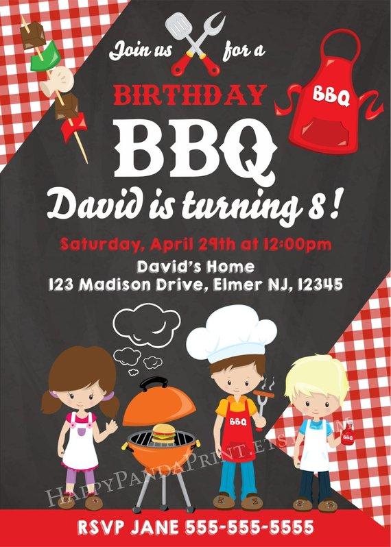 BBQ Birthday Invitation for Kids, BBQ Birthday Party, Kids BBQ