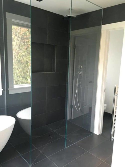 ambiente european tile design villeroy and boch anthracite bathroom glass shower - Bathroom Designs Villeroy And Boch