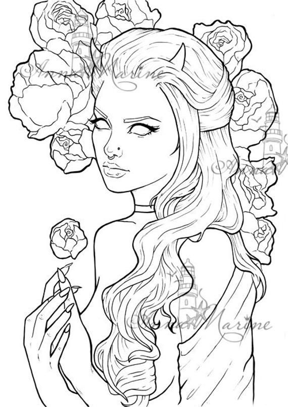Peonies - Coloring Printable Page Coloring Book Grey Scale Color Tattoo  Stencils Tattoo Design Inked Grayscale Coloring, Peony Colors, Tattoo  Coloring Book